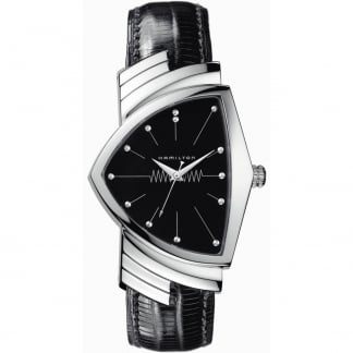 Men's Ventuta Black Leather Quartz Watch