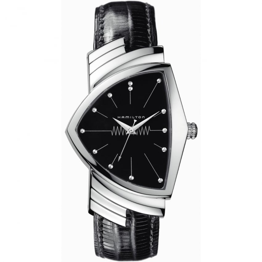 Hamilton Men's Ventuta Black Leather Quartz Watch H24411732