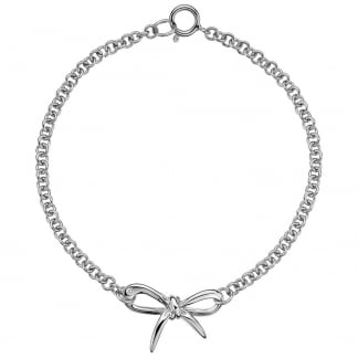 Ladies Flourish Silver Bow Bracelet