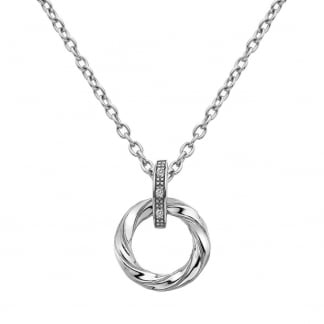 Hot Diamonds Glide Double Heart Pendant on a Chain of Length 45cm rwy076a8