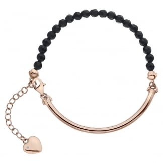 Ladies Trend Rose Gold Black Onyx Bracelet