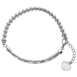 Ladies Silver Beaded Luxury Breeze Bracelet