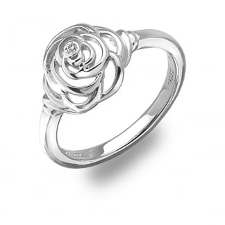 Ladies Silver Eternal Rose Ring
