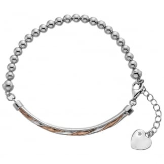 Ladies Two Tone Beaded Breeze Bracelet
