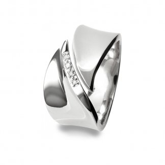 Pave Leaf Silver Ring - Size P