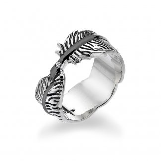Silver Feather Ring - Size L DR129