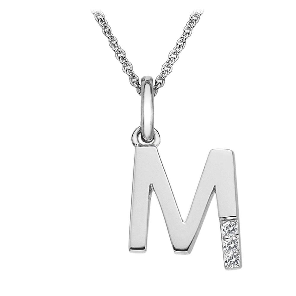 Hot Diamonds Silver Letter M Micro Pendant
