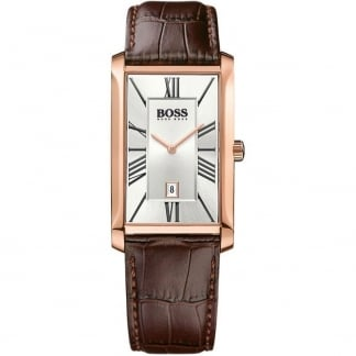 Gent's Brown Leather Rose Gold Admiral Watch 1513436