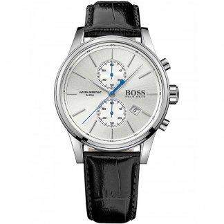 Gent's Jet Black Leather Chronograph Watch