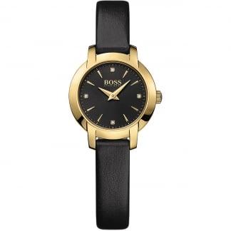 Ladies Success Black Leather Quartz Watch 1502383