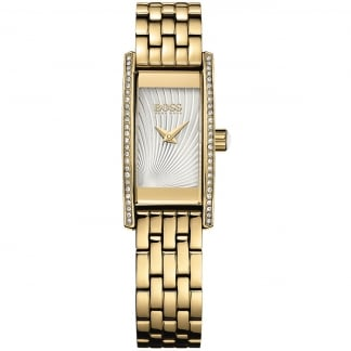 Ladies Cocktail Stone Set Gold Bracelet Watch
