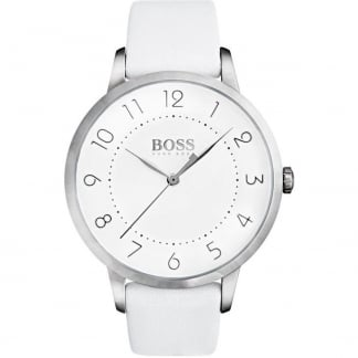 Ladies Eclipse White Leather Strap Watch