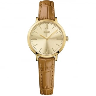 Ladies Jillian Tan Leather Gold PVD Watch