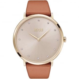 Ladies Jillian Gold PVD Tan Strap Watch