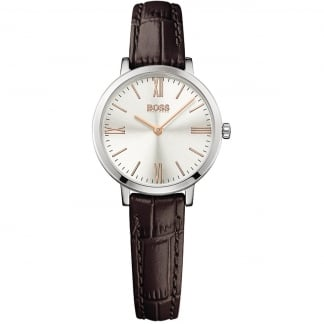 Ladies Jillian Brown Leather Strap Watch