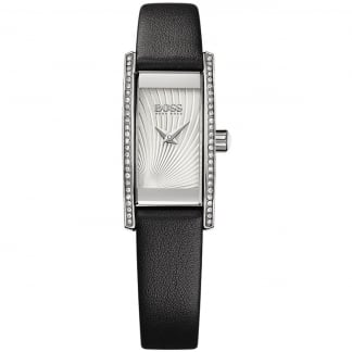 Ladies Stone Set Black Strap Cocktail Watch