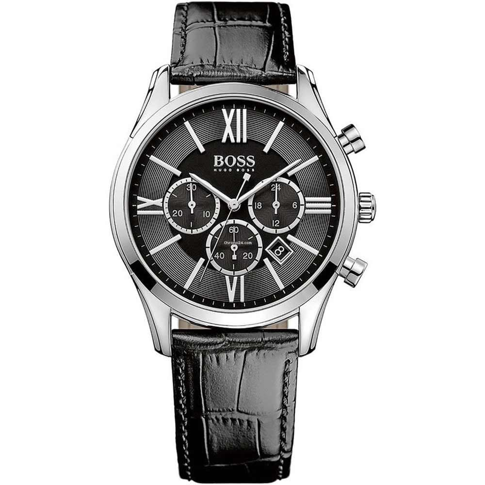 5ac27c8519a3c Hugo Boss Men s Ambassador Black Leather Chronograph Watch Product Code   1513194