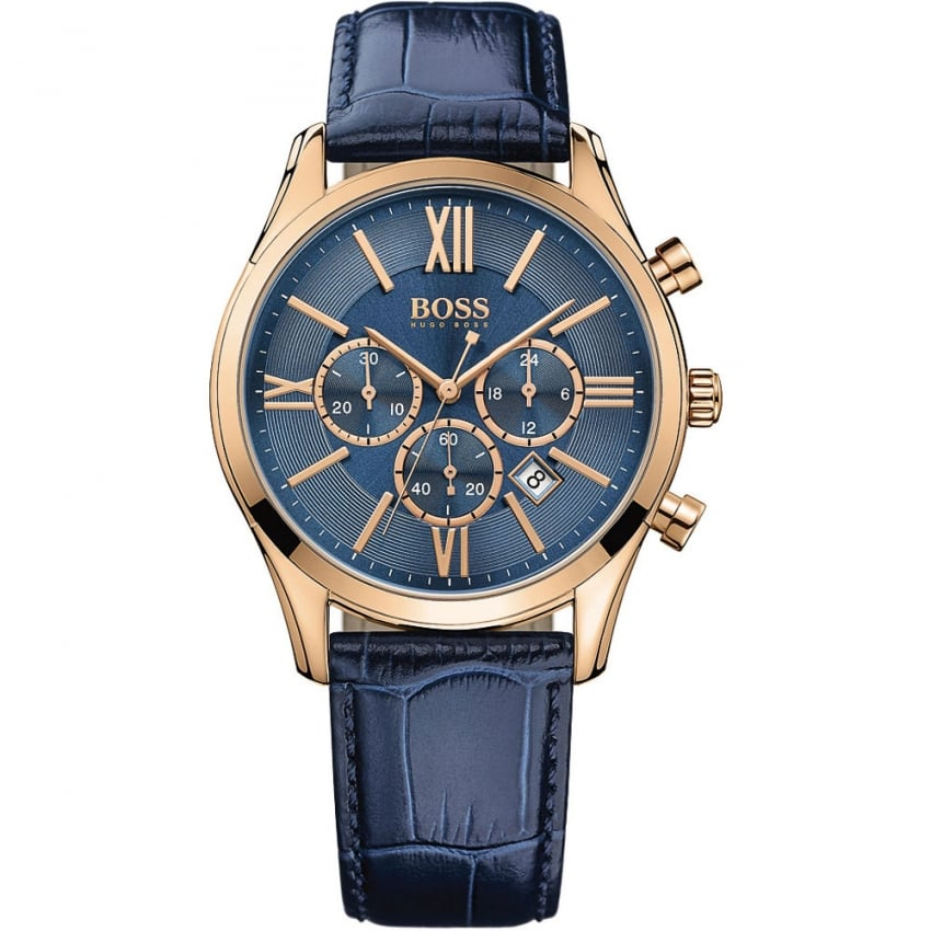 Hugo Boss Men's Ambassador Blue and Rose Gold Chronograph Watch 1513320