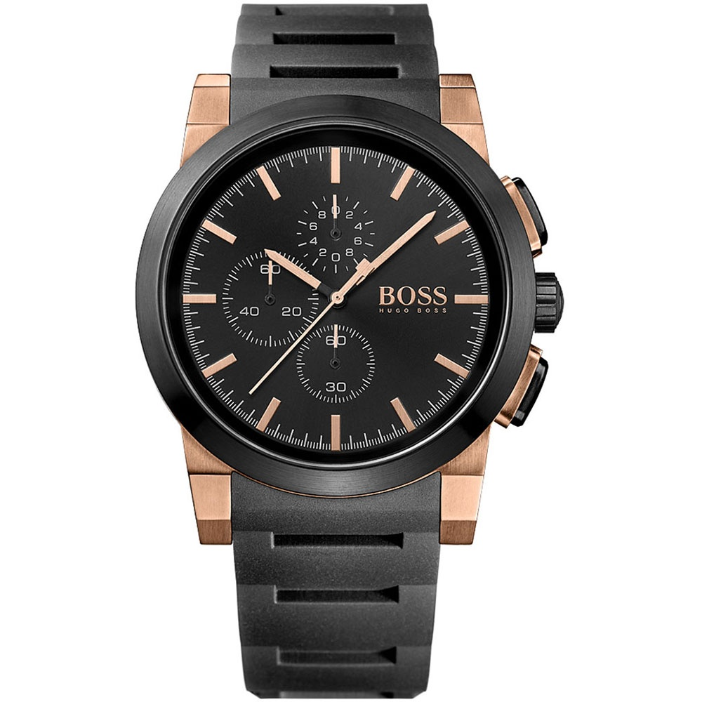 c53492269cc3b Hugo Boss Men s Black   Rose Gold Tone Chronograph Watch Product Code   1513030