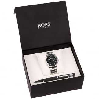 Men's Black Stylish Polished Steel Watch & Pen Giftset