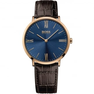 Men's Jackson Brown Leather Blue Dial Watch 1513458