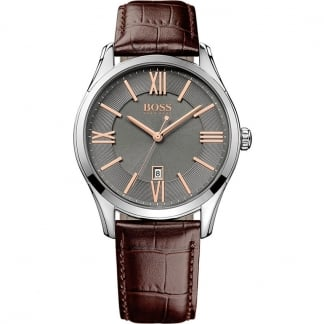 Men's Charcoal Dial Watch with Rose Gold Detail
