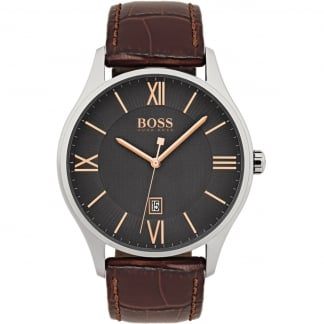 Men's Governor Brown Leather Grey Dial Watch