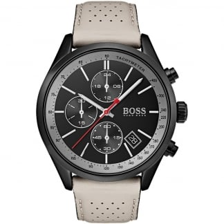 Men's Grand Prix Black Chronograph Leather Watch