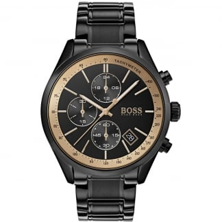 Men's Grand Prix Gold/Black Chronograph Watch
