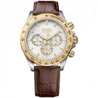 Men's Ikon Brown Leather Chronograph Watch 1513174