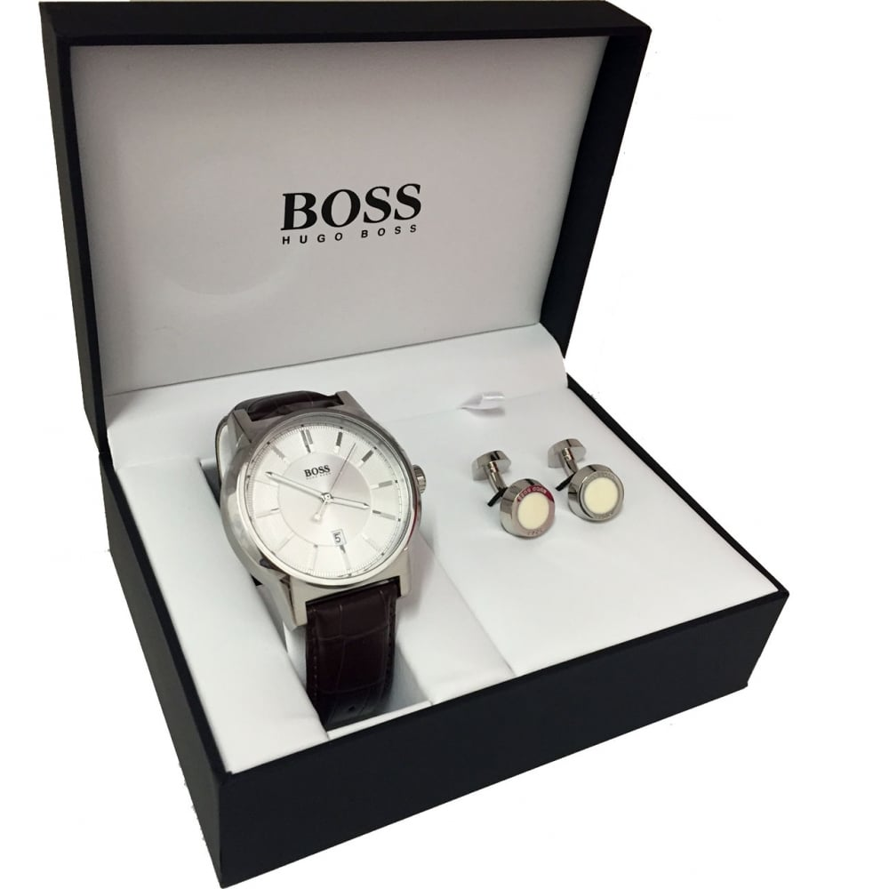 Hugo Boss Men's Leather Watch & Steel Cufflink Gift Set - Watches ...