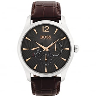Men's Multifunction Leather Strap Commander Watch