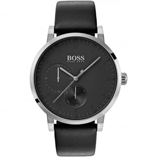 Men's Oxygen Black Sub Dial Leather Watch