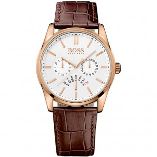 Men's Rose Gold Heritage Watch with Brown Leather Strap 1513125