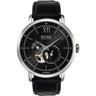 Men's Signature Black Leather Automatic Watch