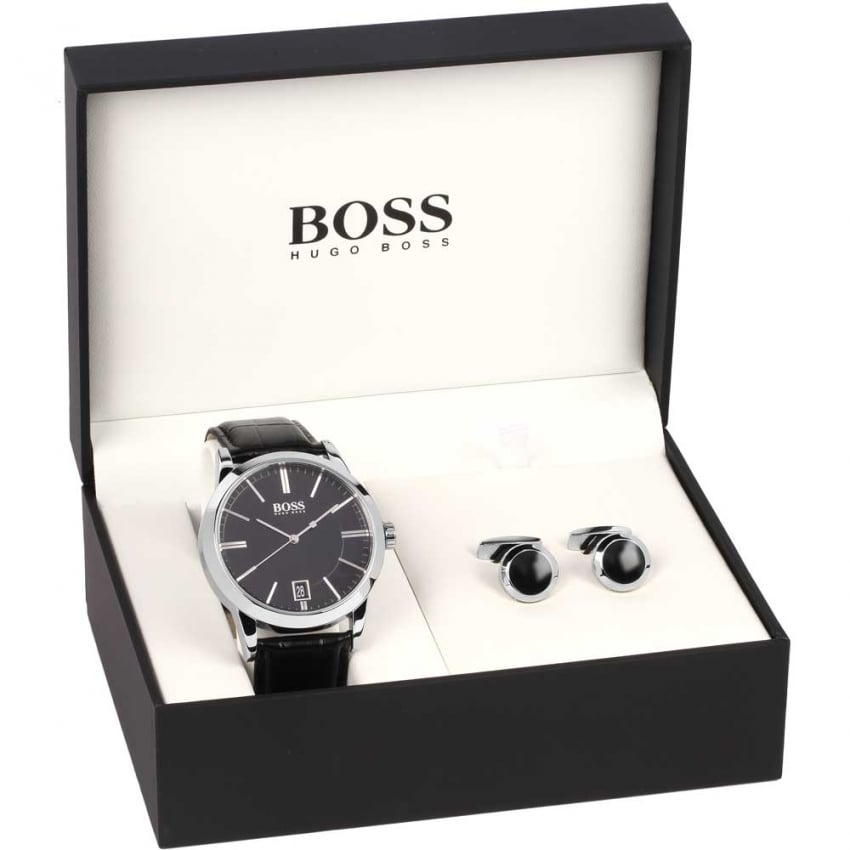 Hugo Boss Men's Success Strap Watch & Cufflinks Set 1570044