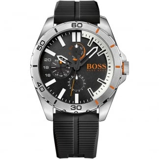 Men's Berlin 50M Black Rubber Multifunction Watch