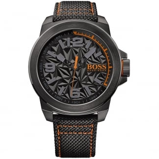 Men's Black Fabric Strap New York Watch with Grey Dial