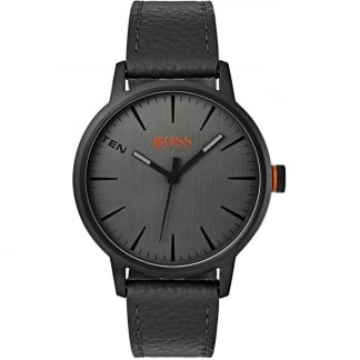 Men's Black Leather Strap Copenhagen Watch
