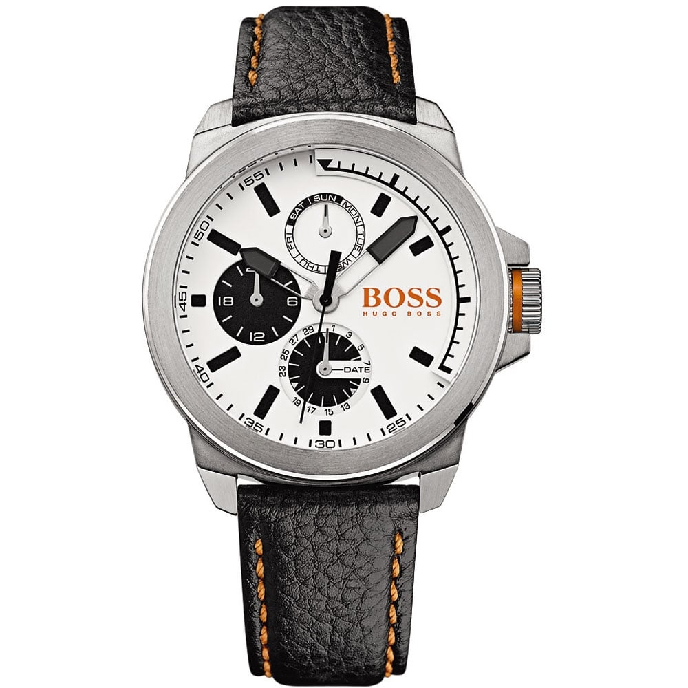 ea65ae935 Men's Black Leather Strap New York Watch with White Dial Product Code:  1513154