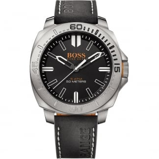 Men's Black Leather Strap Sao Paulo Watch