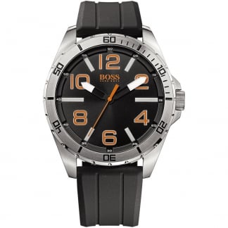 Men's Black Rubber Strap Berlin Watch with Black Dial 1512943
