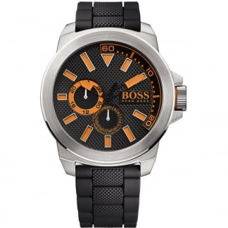 Men's New York Black Rubber Strap Watch with Orange Accents 1513011