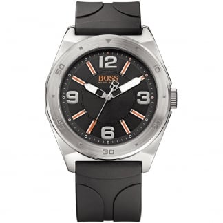 Men's Black Rubber Strap Watch with Black Dial 1512897