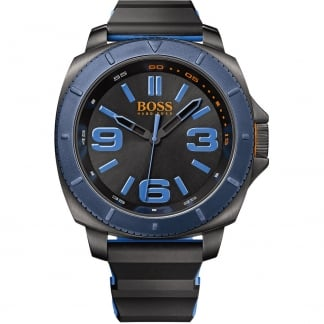 Men's Black Rubber Strap Watch with Black Dial 1513108