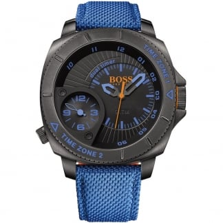 Men's Blue Fabric Strap Sao Paulo Watch with Black Dial