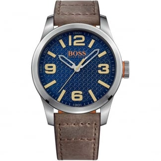 Men's Brown Leather Strap Paris Watch with Blue Dial