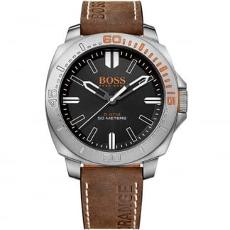Men's Brown Leather Strap Sao Paulo Watch with Black Dial