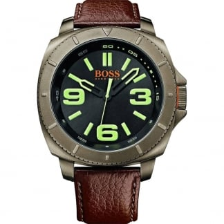 Men's Brown Leather Strap Watch with Green Accents