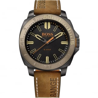 Men's Brown Leather Strap Watch with Black Dial 1513314